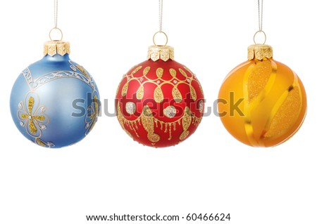 Christmas baubles isolated on a white - stock photo