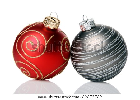 Christmas baubles, isolated on a white background