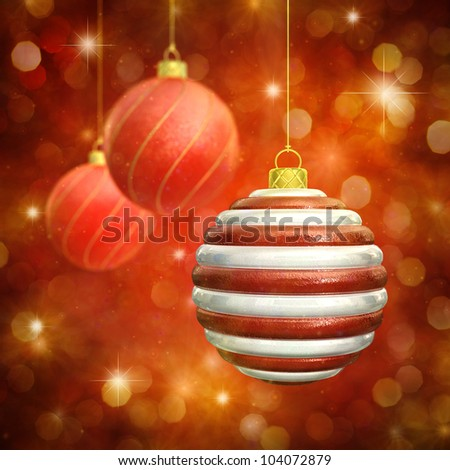 Christmas baubles on red sparkly background