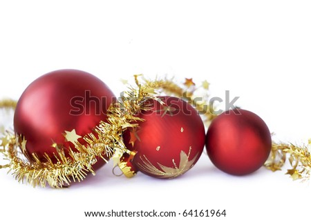 Christmas baubles on the white - stock photo