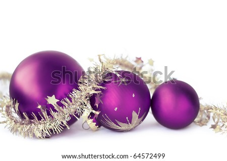 Christmas baubles on the white
