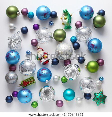 Christmas baubles on white background #1470648671