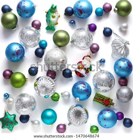 Christmas baubles on white background #1470648674