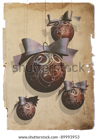 Christmas baubles  One big and three small Christmas baubles over vintage paper