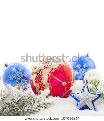 Christmas baubles snowflakes border isolated on white background