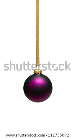 Christmas baubles with gold ribbon  isolated on white