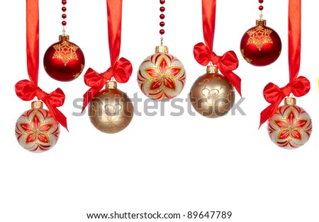 Christmas baubles with ribbon isolated on white background