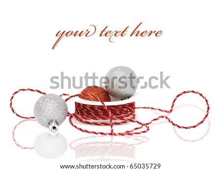 Christmas baubles with ribbon on white background (with sample text)
