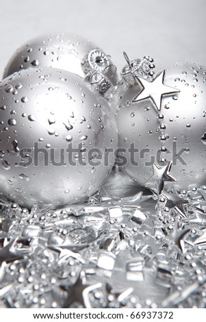 Christmas baubles with silver decoration
