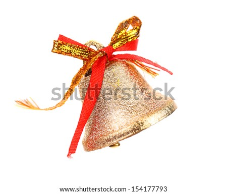 Christmas Bell and bow on a white background