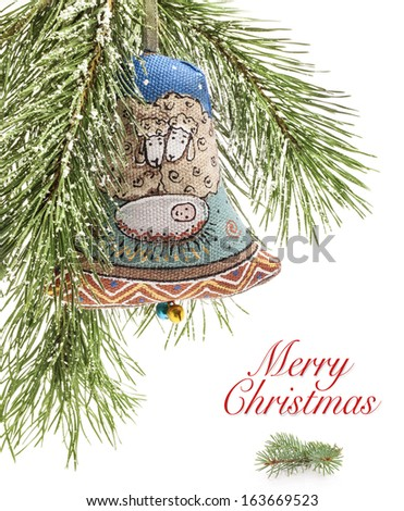 Christmas bell, Handmade decoration, traditional Ukrainian souvenir. Baby Jesus in Bethlehem are represented on this bell