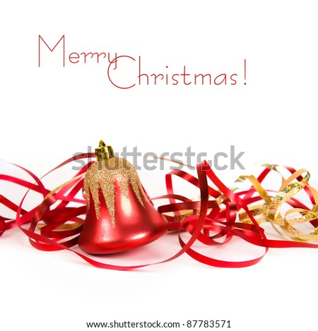 Christmas bell with red ribbon over white