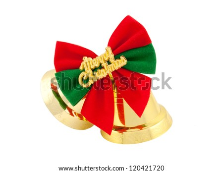 Christmas bells and bows isolated on white background