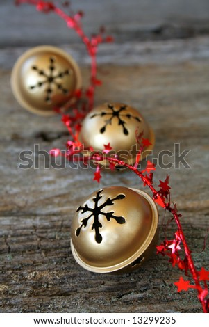 Christmas bells with red star ribbon
