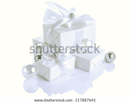 Christmas (birthday, Valentine's day, Wedding) presents with bow, isolated on white background.