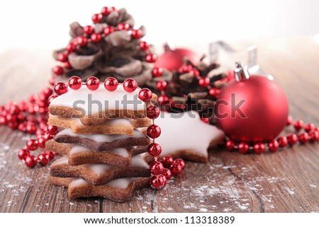 christmas biscuit and decoration - stock photo