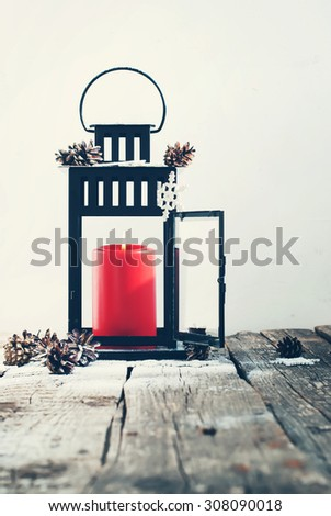 Christmas  Black Lantern with Red Candle, Decorated Snow Flakes and Pine Cones #308090018