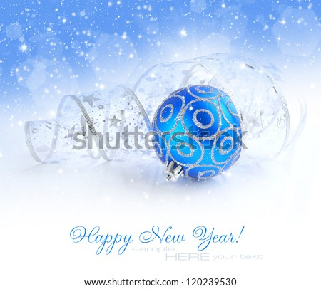 Christmas blue and silver decorations on festive background with sample text