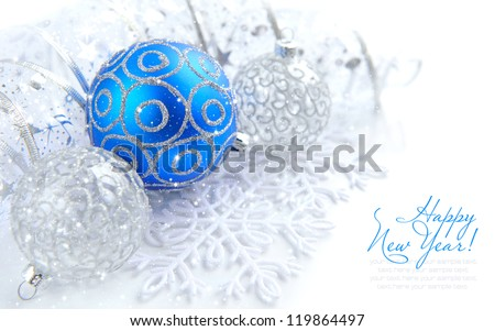 Christmas blue and silver decorations on white with sample text