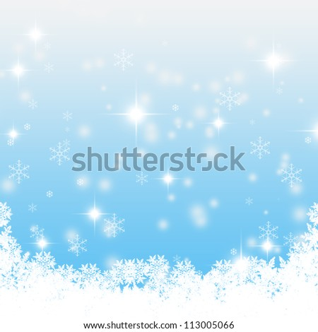 Christmas blue background with snow flakes