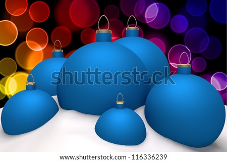 Christmas blue balls in snow on color bokeh background 3d concept
