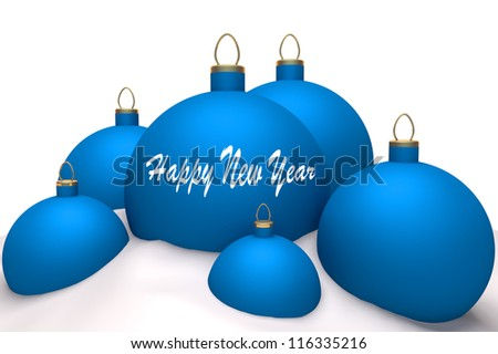 Christmas blue balls with mark Happy New Year in snow isolated on white background 3d concept