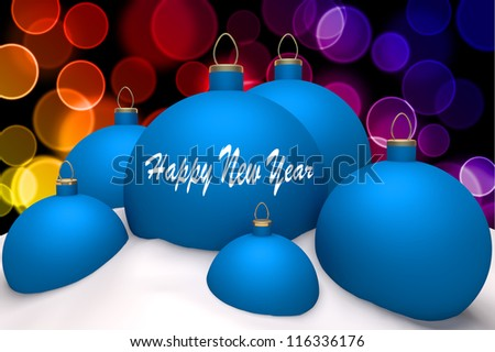 Christmas blue balls with mark Happy New Year in snow on color bokeh background 3d concept