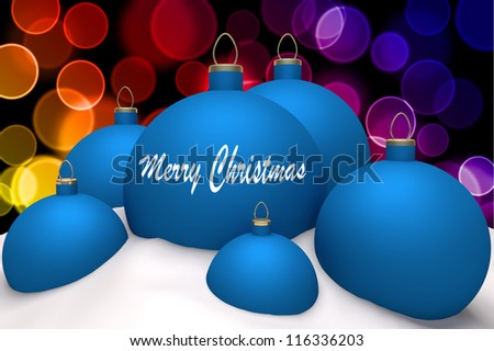 Christmas blue balls with mark Merry Christmas in snow on color bokeh background 3d concept