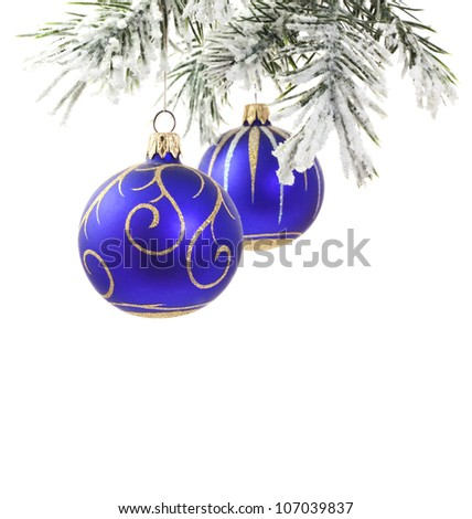 Christmas blue baubles and tree with snowflakes isolated