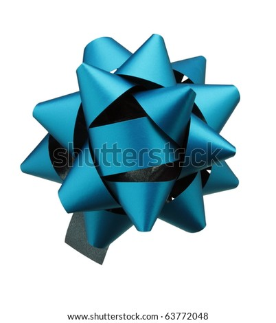 Christmas blue Bow isolated on white background