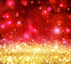 Christmas Bokeh - Gold Glitter With Shining Red Backdrop