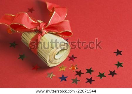 Christmas bonus with ribbon