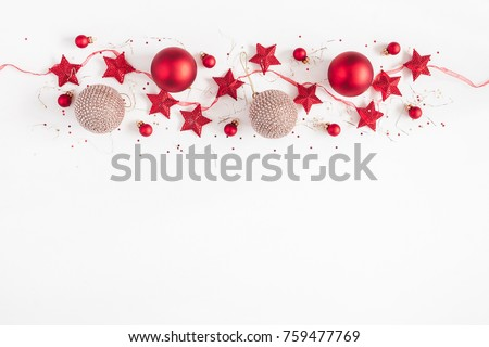 Christmas border. Christmas balls, garland, red and golden decorations on white background. Flat lay, top view, copy space #759477769