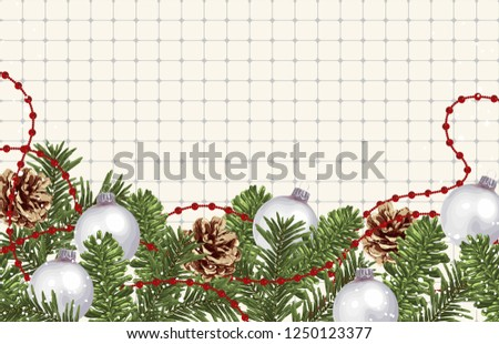 Christmas border composition. Printable Christmas festive border layout. Christmas decorations for background design with copy space great for creating greeting cards, invitations, and more. #1250123377