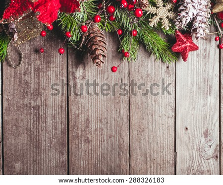 Christmas border design on the wooden background #288326183