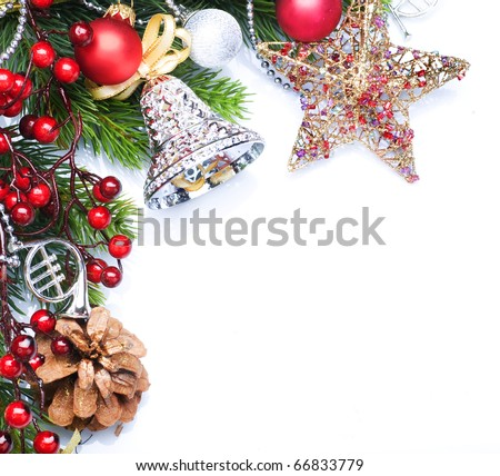 Christmas border design over white