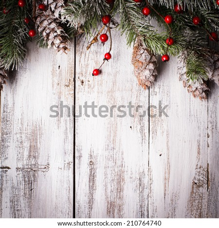 Christmas border design with snow covered pinecones #210764740