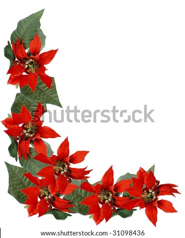 Christmas border frame of poinsettia flowers lower left corner design