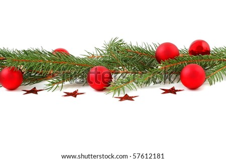 Christmas border, green and red on white background. #57612181