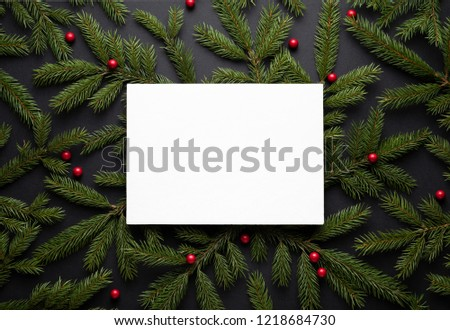 christmas border new year background with copy space for text flat lay top