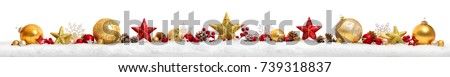Christmas border or banner with stars and baubles arranged in a row on snow, extra wide and isolated on white background #739318837