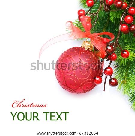 Christmas border over white - stock photo