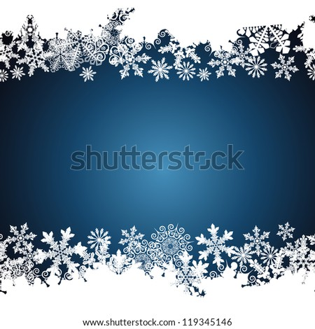 Christmas border, snowflake design background. - stock photo