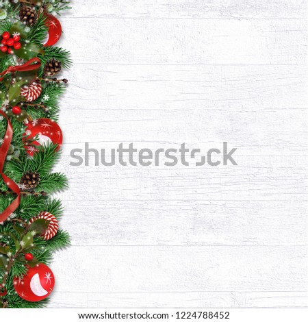 Christmas border with fir branches, balls, holly and cones оn w #1224788452