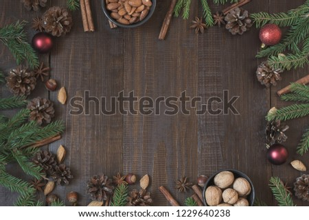 christmas border with ingredient for cooking holiday food with copy space new year background