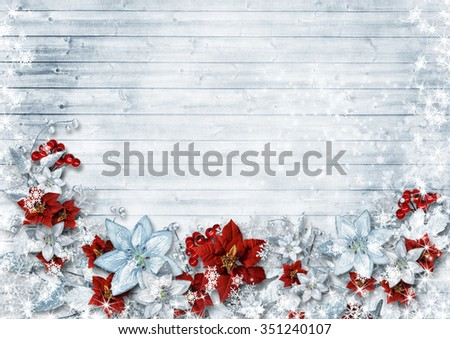 Christmas border with poinsettia and winter flowers on vintage w