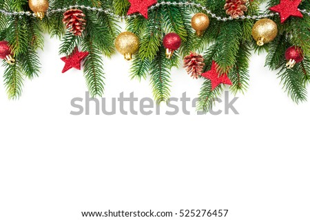 Christmas border with trees, balls, stars and other ornaments, isolated on white. Studio shot #525276457