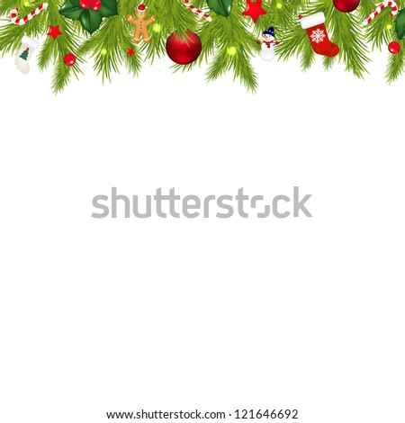 Christmas Border With Xmas Garland Isolated On White Background