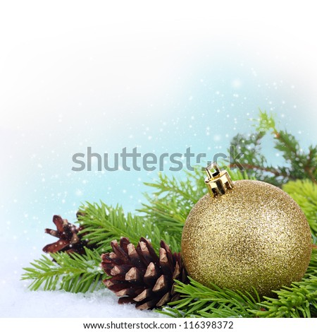 Christmas border with xmas ornament, snowflakes, fir tree branches and pine cones