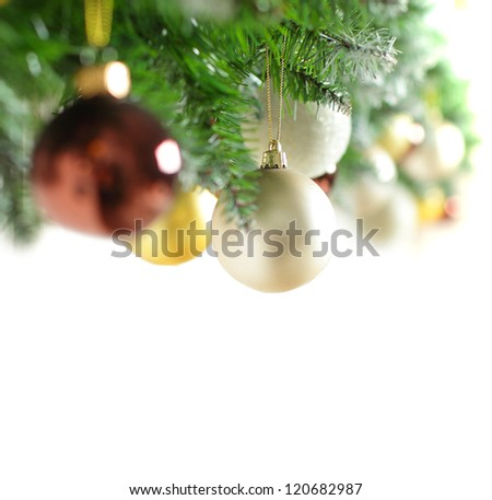 Christmas border with Xmas tree (shallow depth of field)